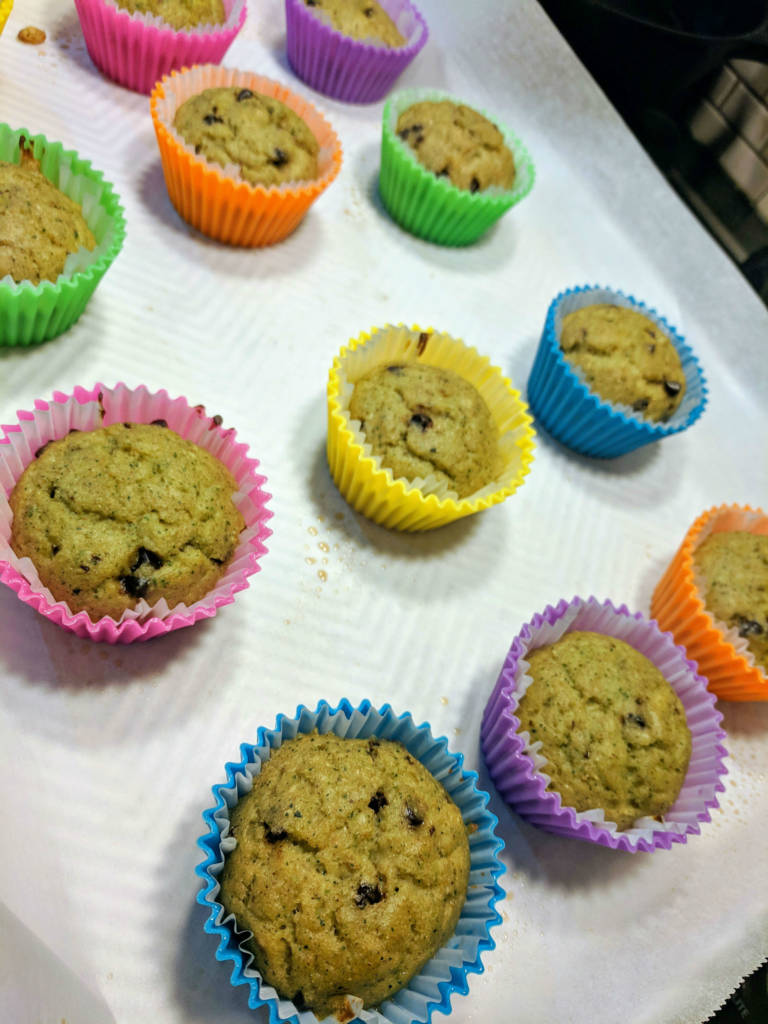 Protein muffins baked in neon silicone cups
